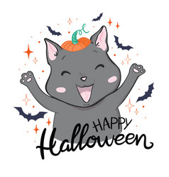 Black cat in a halloween pumpkin and ghost vector