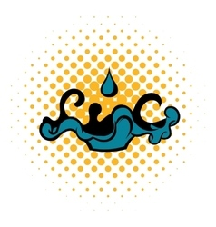 Black oil drop and spill icon comics style vector