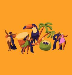 Brazilian samba carnival dancer latino character vector