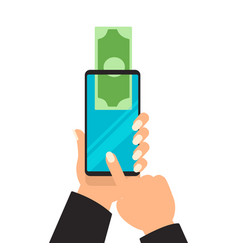 business hands sending money wireless mobile vector image