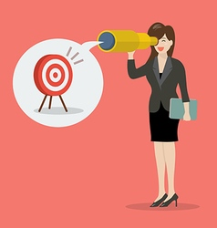 business woman looking for business target vector image