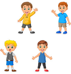 cartoon boys collection set waving hand vector image