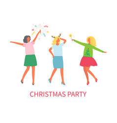 christmas party woman company winter celebration vector image