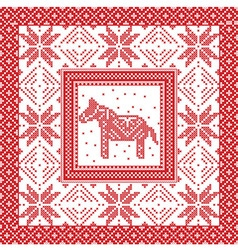 Christmas pattern with horse and snowflakes vector image