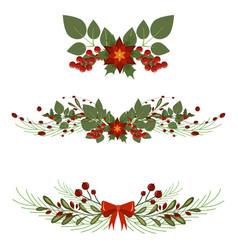 christmas tree branch decoration frame divider vector image