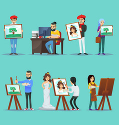 Collection of artists with their paintings vector