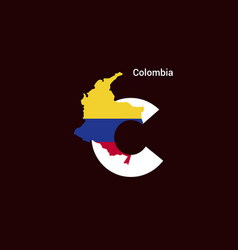 Colombia initial letter country with map and flag vector