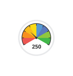 colorful speedometer icon with dial arrow showing vector image
