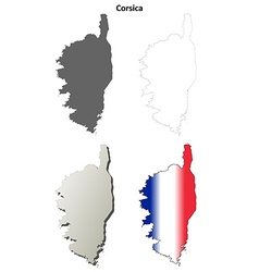 Corsica blank detailed outline map set vector image