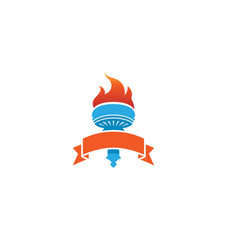 creative fire ribbon logo vector image