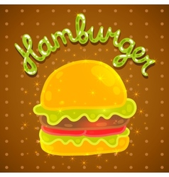 Cute cartoon hamburger image vector image