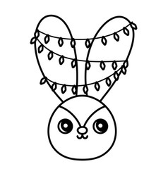 cute rabbit with lights in ears happy vector image