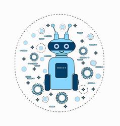 cute robot cartoon robotic character vintage icon vector image