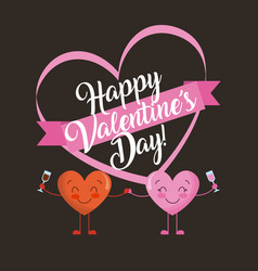 cute two hearts with wine glass happy valentines vector image