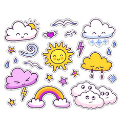 cute weather forecast cartoon characters vector image