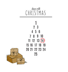 days till christmas countdown with hand-drawn vector image