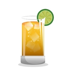 Delicious tropical cocktail isolated icon vector