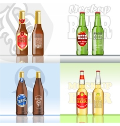 Digital beer set mockup vector