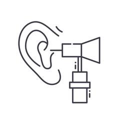 Ear test icon linear isolated thin vector