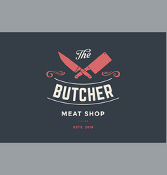 Emblem of butcher meat shop with cleaver and chefs vector