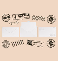 envelope template with stamp label mail letter vector image