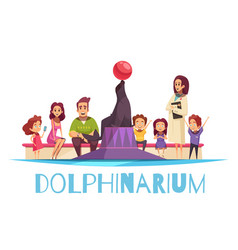 family dolphinarium flat background vector image
