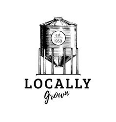farm hopper logo locally grown lettering vector image