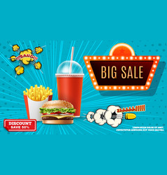 fast food promotional concept vector image