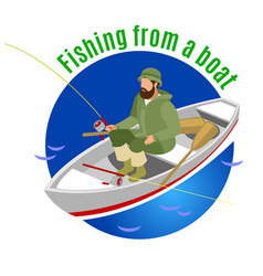 fishing from boat isometric background vector image