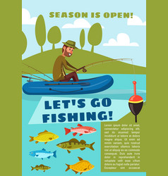 fishing sport poster with fisherman fish and rod vector image