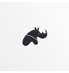 Flat style logo icon template Rhinoceros design vector image