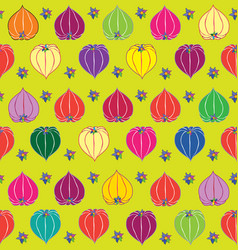 Floral fall seamless pattern physalis background vector