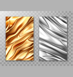 Foil golden and silver crumpled metal texture vector