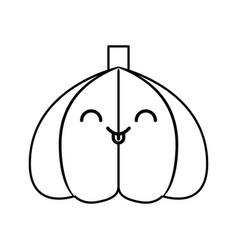 Garlic fresh vegetable kawaii character vector