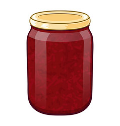 glass jar with berry jam eps 10 vector image