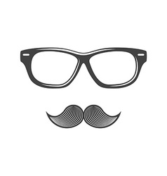 Glasses and moustache black icon logo element flat vector