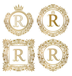 Golden letter r vintage monograms set heraldic vector