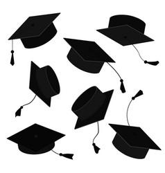 graduate caps in air cartoon vector image