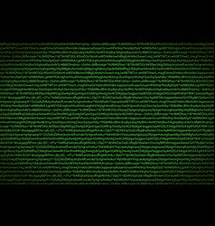 green complicated crypto symbols on black data vector image