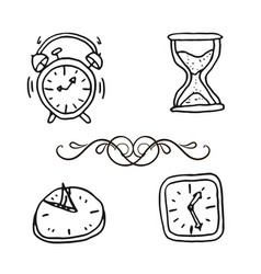 hand drawn set clocks and watches vector image