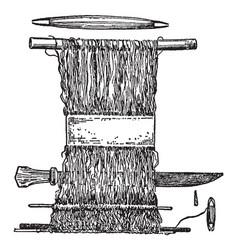 hand loom is earliest looms were vertical vector image