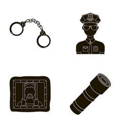 handcuffs policeman prisoner flashlightpolice vector image