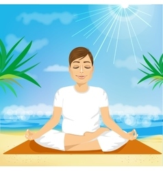handsome young man sitting in yoga pose vector image vector image