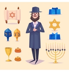 Hanukkah celebration Set of colorful elements vector image