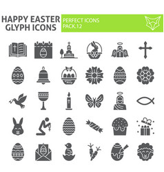 happy easter glyph icon set spring holiday vector image