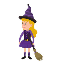 Happy girl with witch costume and broom vector