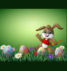 happy rabbit cartoon with carrot and easter eggs i vector image