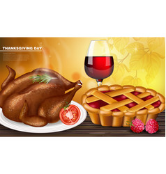 happy thanksgiving turkey menu realistic vector image