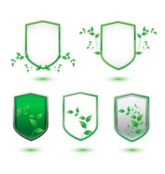 insulated shield banner with green leaves vector image
