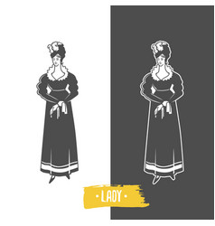 Lady old fashion vector